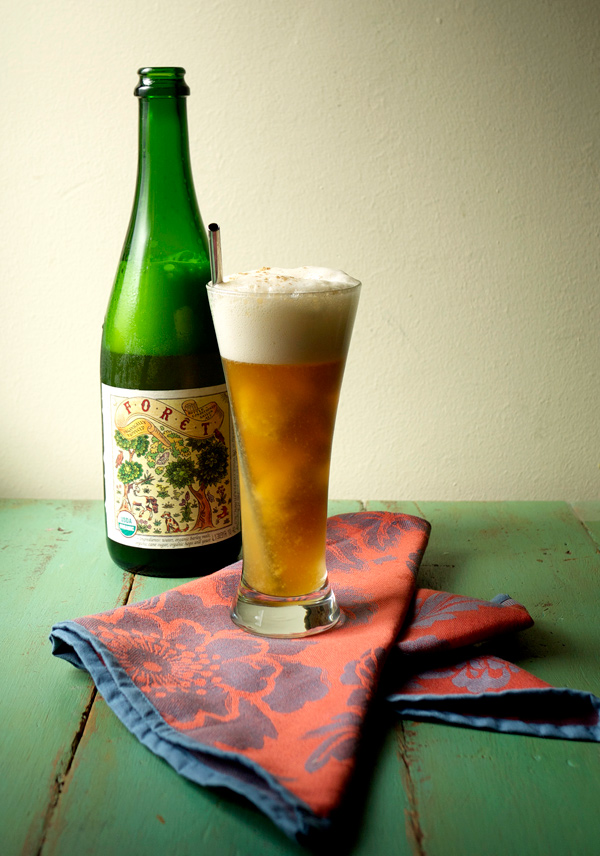 Peach-Basil Sorbet & Saison Float (Beer Float) | Stir and Strain