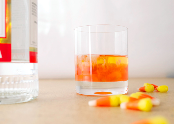 Low Rent Cocktail of the Month: Candy Corn Shooters // stirandstrain.com