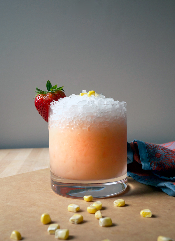 Mixology Monday: Sweet Corn and Strawberry Smash #Cocktail // stirandstrain.com