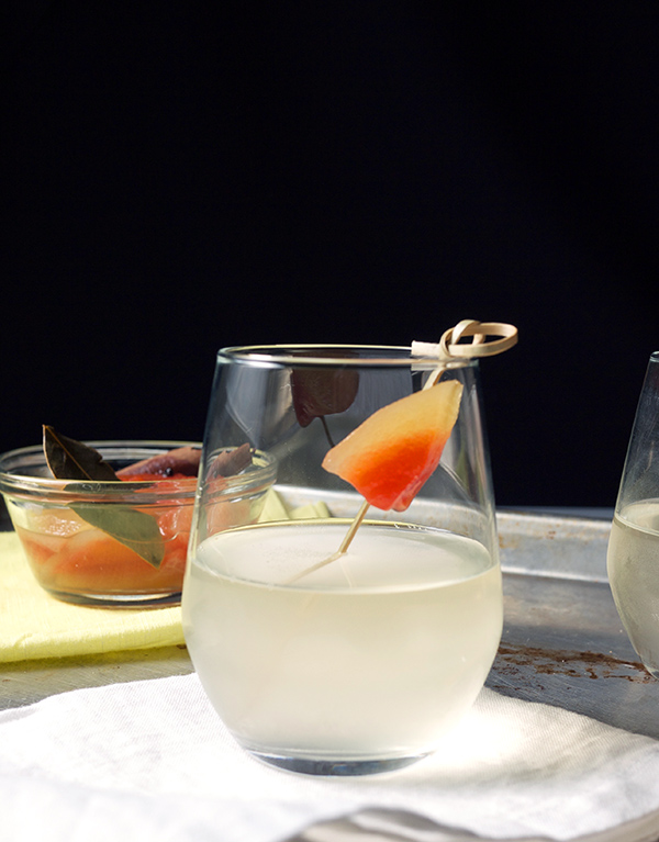 Pickled Watermelon Rinds and a Sweet and Sour Ginger Cocktail // stirandstrain.com