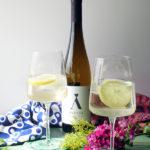 Vinho Verde Spritz Cocktails with Wine Candied Lemon Peels for Pastéis de Nata